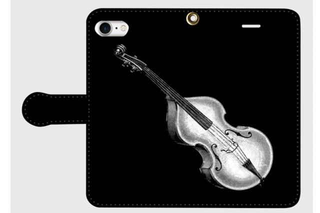 (iPhone用)コントラバスの手帳型スマホケース