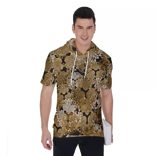 家紋装飾ゴールド ユニセックスパーカーTシャツ