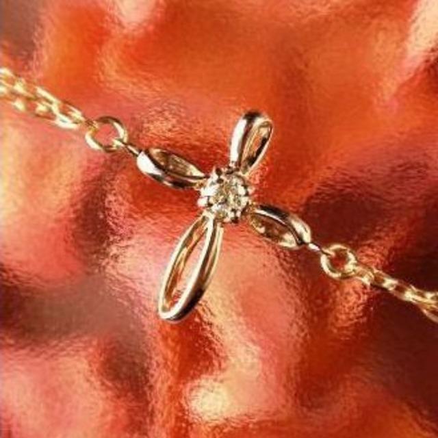 ダイヤモンド ブレスレット 10金ピンクゴールド クロスモチーフ 十字架 レディース