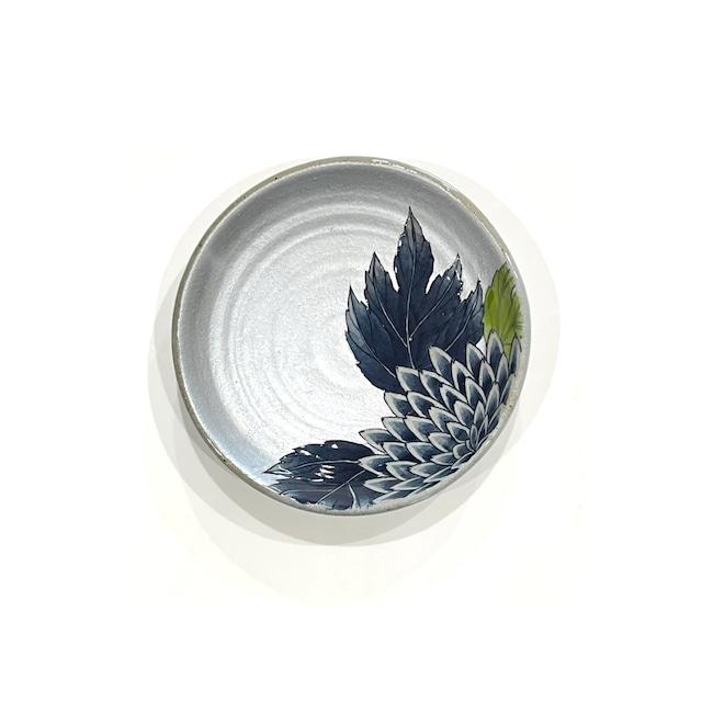 銀彩 菊  5寸手作りプレート 土物《房空路》