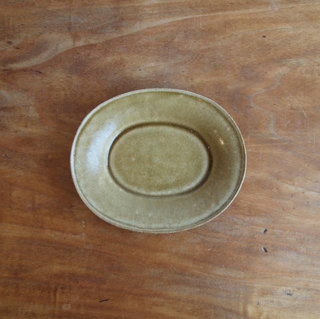 今井律湖|楕円小皿 オークル