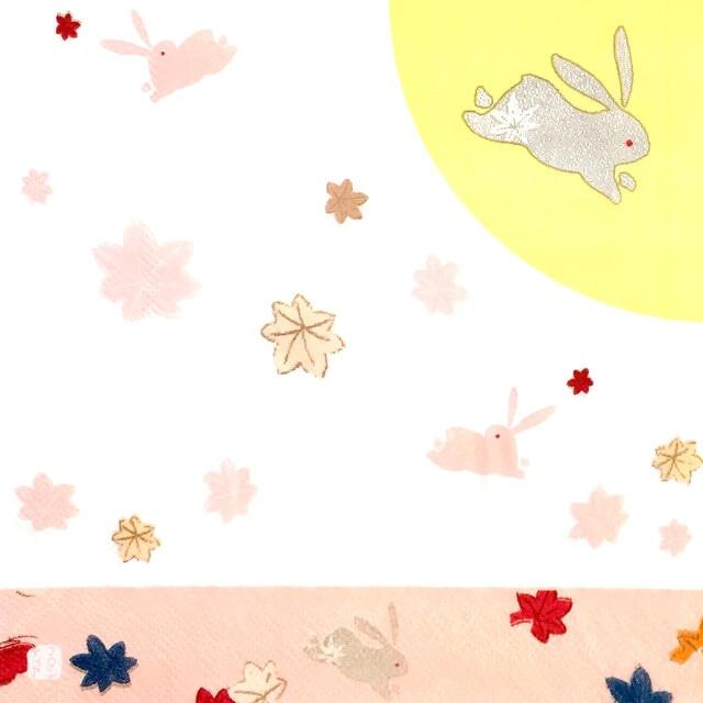 【FRONTIA】バラ売り1枚 ランチサイズ ペーパーナプキン つきとウサギ ホワイト