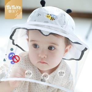ベビー 赤ちゃん 夏 バケットハット UVカット帽子 UVハット コロナ対策 フェイスシールド ウイルス対策 フェイスカバー 花粉対策 女の子 男の子 子供 キッズ 紫外線 対策 日よけ帽子 日焼け防止 5625