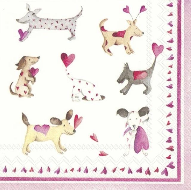【IHR】バラ売り2枚 カクテルサイズ ペーパーナプキン LOVE HEART DOGS ピンク