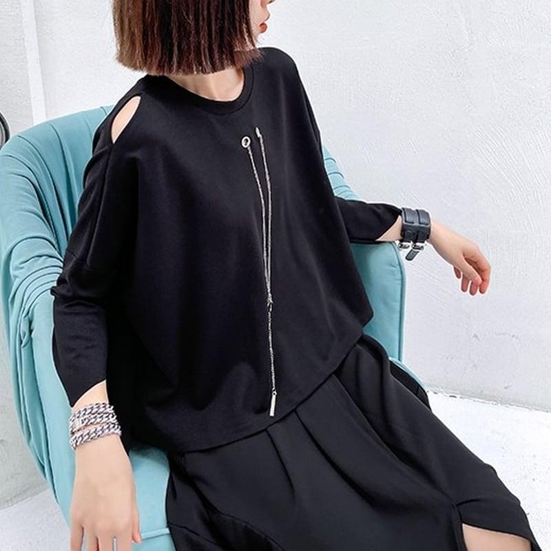 七分袖ゆったりデザインTシャツ   1-020