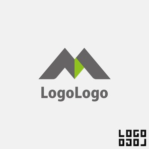 M(エム)の文字または山、自然をモチーフにしたロゴ