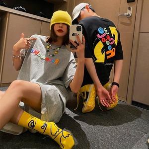 【トップス】凸版プリントファッションストリート系半袖男女兼用Tシャツ48513729