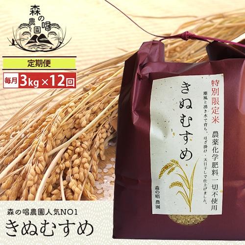 【玄米・定期便】きぬむすめ3キロ/月一回×12カ月