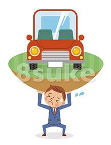 イラスト素材:自動車ローンに苦しむビジネスマンのイメージ(ベクター・JPG)