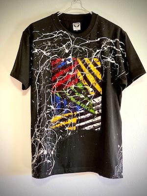 ゼブラパッチワークシブキTシャツ