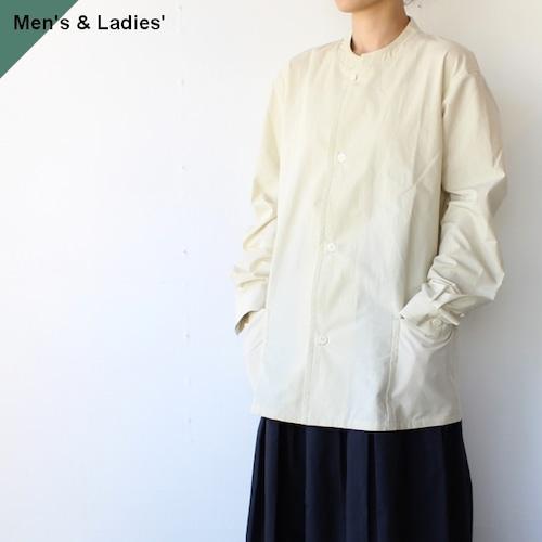 【ラスト1点】THE HINOKI オーガニックコットンンポプリンスタンドアップカラーシャツ TH21S-18 White Asparagus