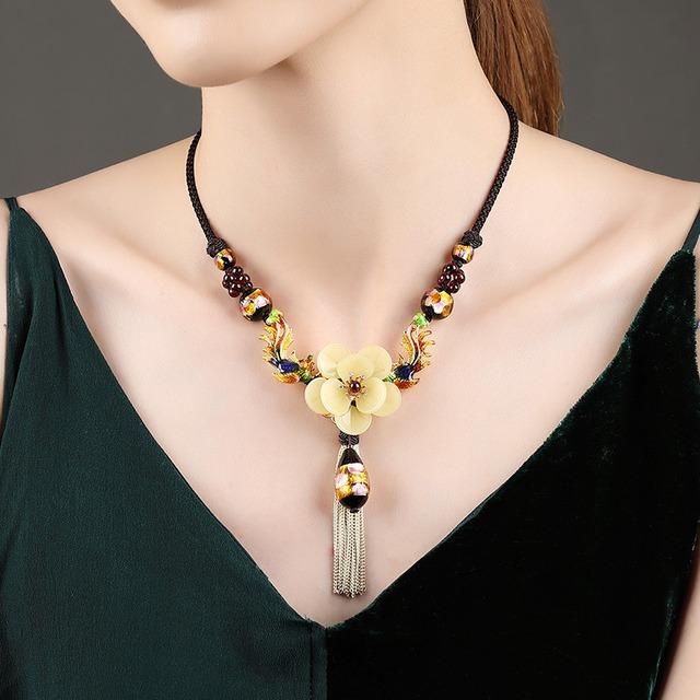 パワーストーン ネックレス オリジナル 民族風 鎖骨チェーン ハンドメイド ネックレス 中華風 ペンダント アクセサリー