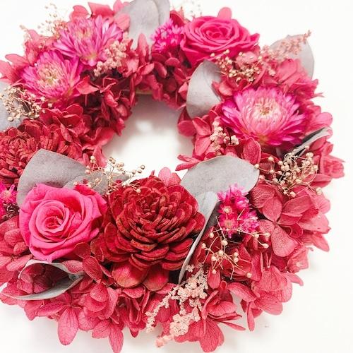 プリザーブドフラワーリース【Mサイズ】ピンク 大人ピンク  おしゃれ ドアリース カシスピンク 大人可愛い ユーカリ 紫陽花 プリザーブドフラワー リース リースアレンジ リースアレンジメント