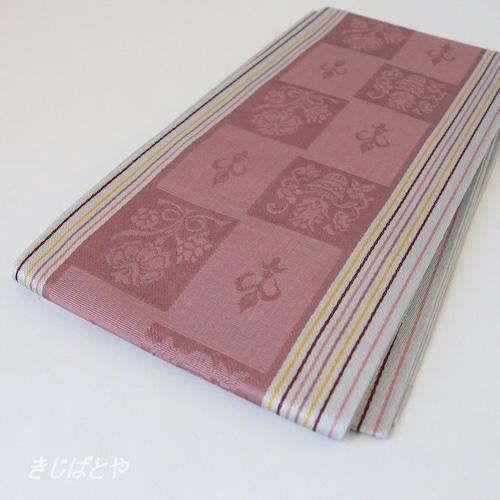 正絹博多半幅帯 市松に花 牡丹鼠