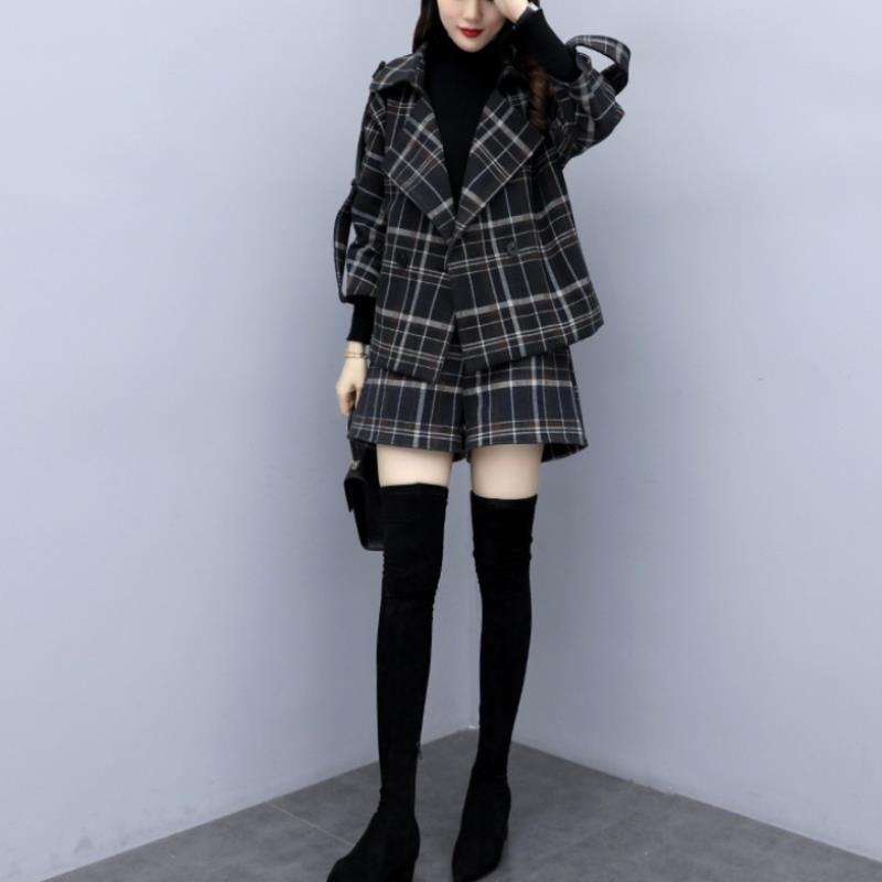 【L-5XL】チェックショートパンツスーツ