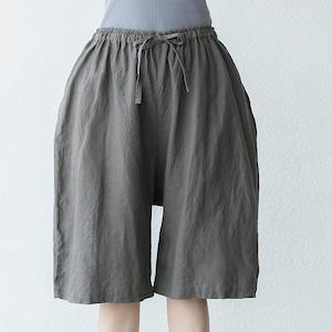 タリン、フレンチリネン5分丈パンツ 濡れた岩のグレー