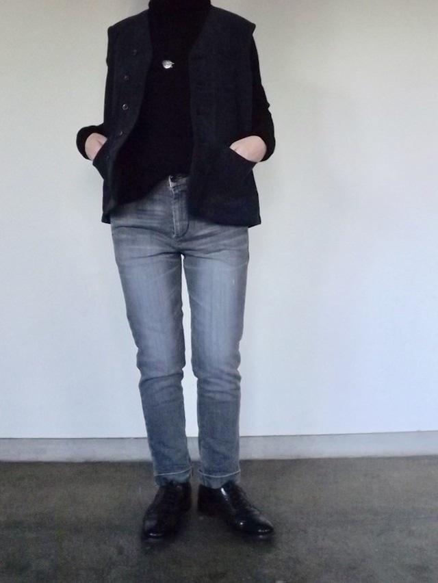 Women  {CL005-5565}  Denim trouser-Black  デニムトラウザーズ [Vintage Black wash], ストレッチ,スキニー,岡山デニム.ラストワン