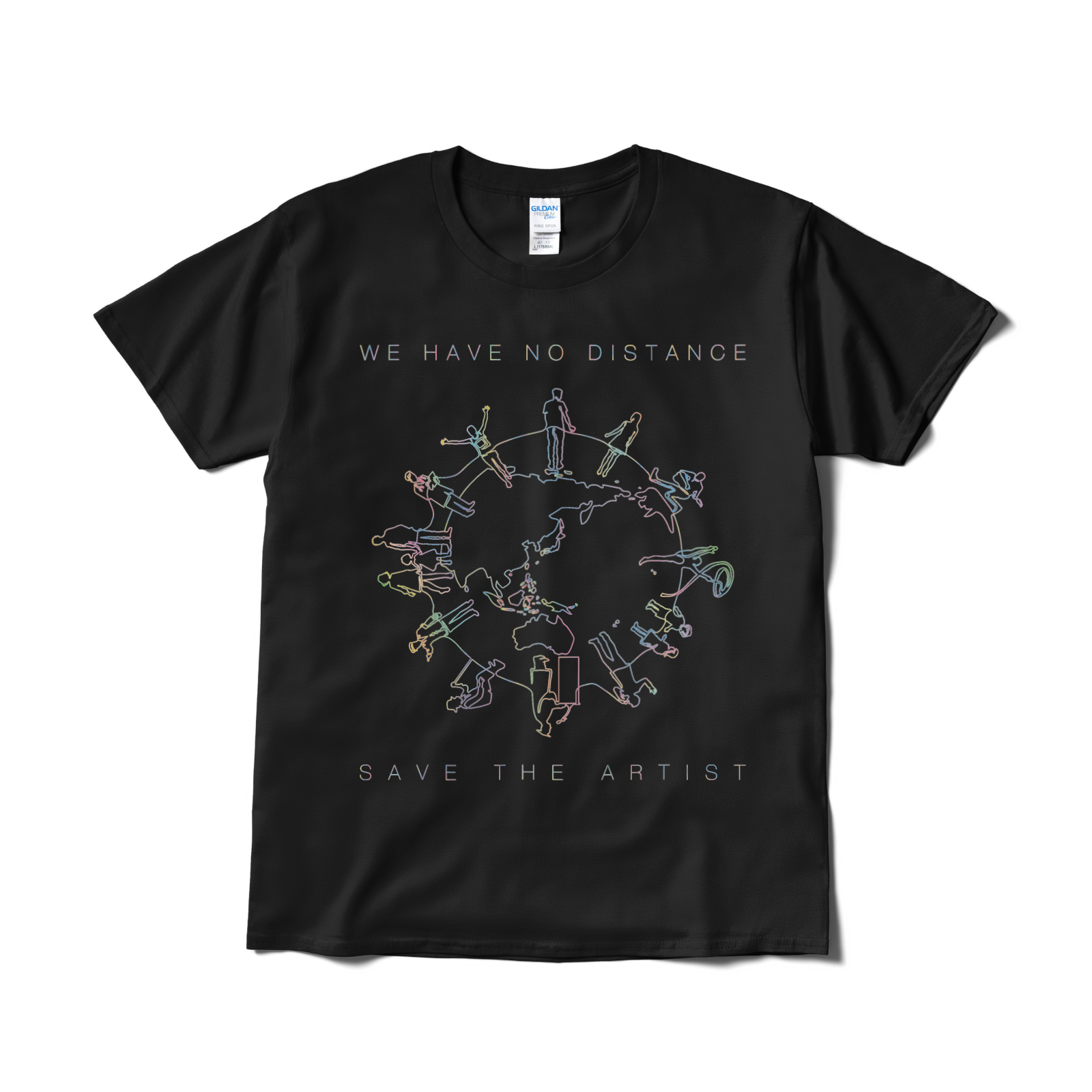 【見れるTシャツ】「WE HAVE NO DISTANCE」ブラック(送料無料)