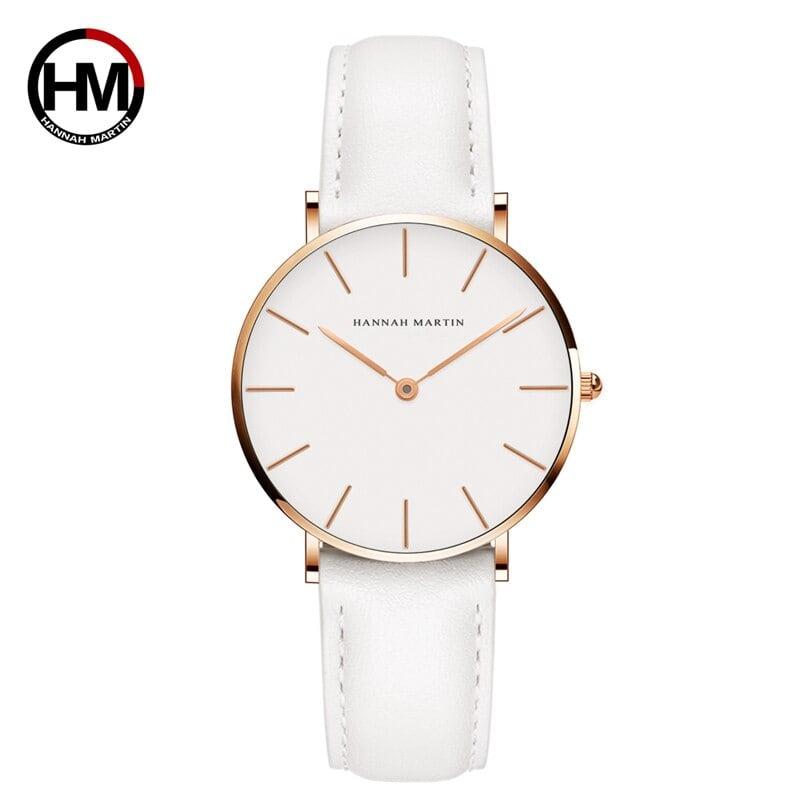 ジャパンクォーツシンプルな女性のファッション時計ホワイトレザーストラップレディース腕時計ブランド防水腕時計36mmCB36-FB