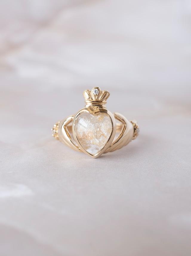White Garden Quartz Claddagh Ring