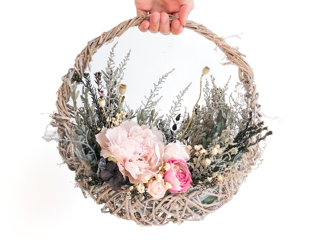 一点もの シャビー レースピンク 花摘み バスケット アレンジ リース ブーケ