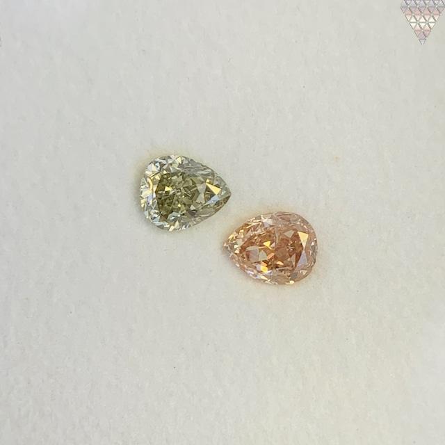合計  0.61 ct 天然 カラー ダイヤモンド 2 ピース GIA  2 点 付 マルチスタイル / カラー FANCY DIAMOND 【DEF GIA MULTI】