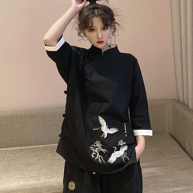 ✿大人気商品✿ チャイナ風トップス チャイナ風服 黒 ブラック 原宿風 大きいサイズ M L LL 3L カジュアル