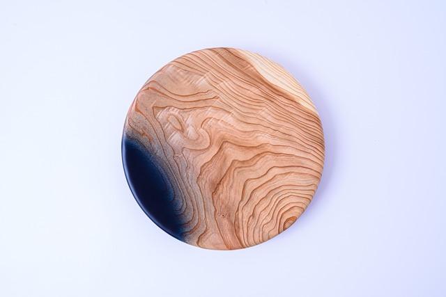 【舞工房】藍舞皿 一部染め 天然杉20cm