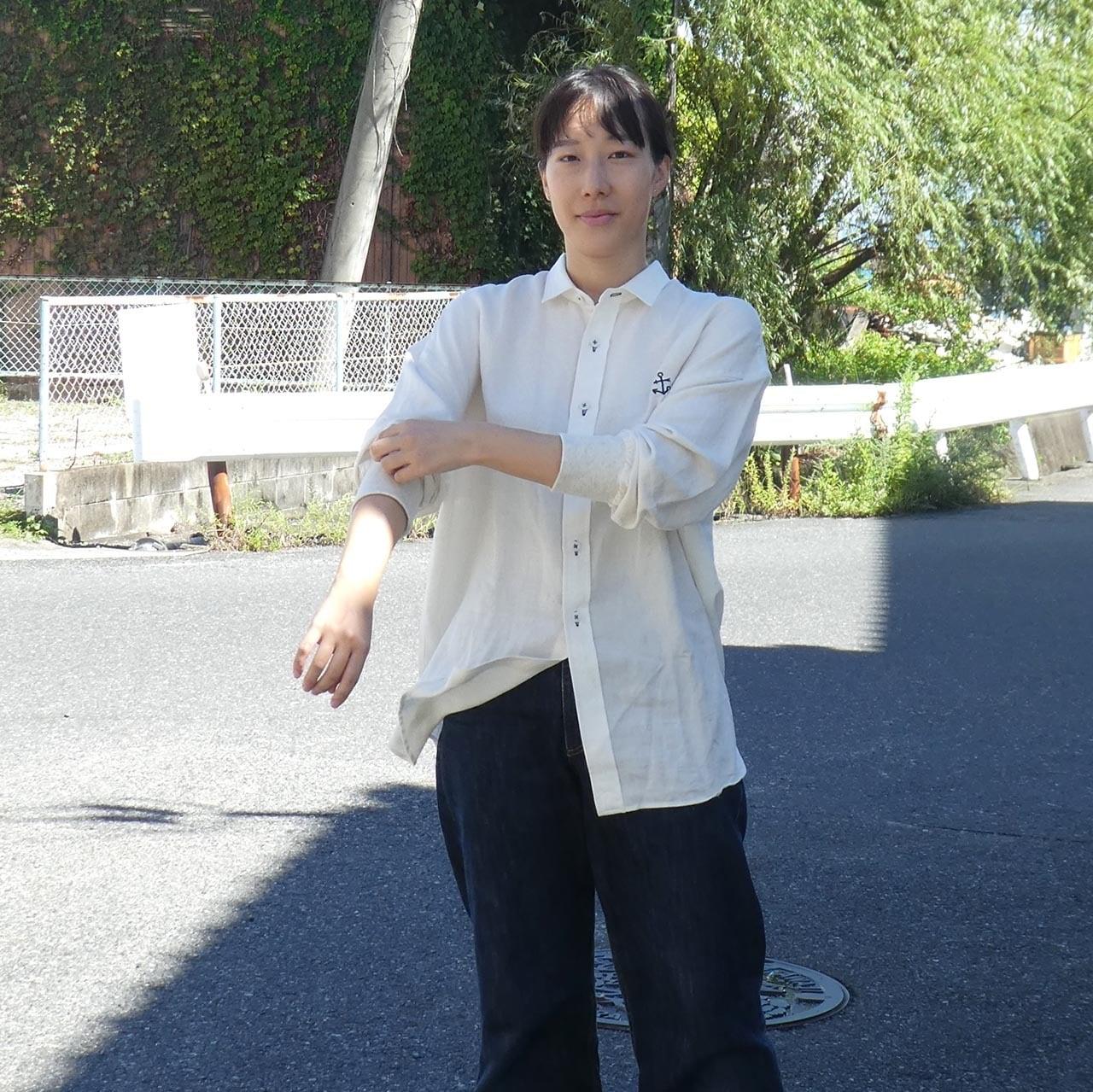 リネン/レーヨン ビッグシルエットツートーンシャツ