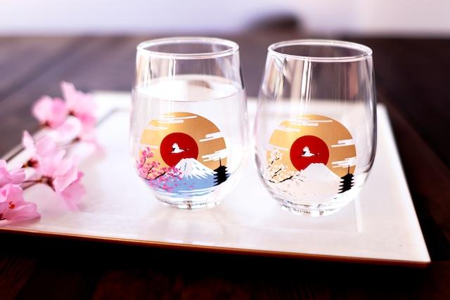 【csf-05s】『冷感富士山』『フリーグラスペアセット』 * 父の日 富士山 桜 春 日本 フリーグラスペアセット 贈り物 温度 変化 日本酒 乾杯 グラス ギフト プレゼント お祝い