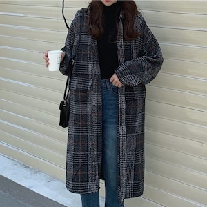 【アウター】見逃し厳禁!ファッション 定番 シンプル 韓国系 チェック柄 シングルブレスト ロング コート52903506