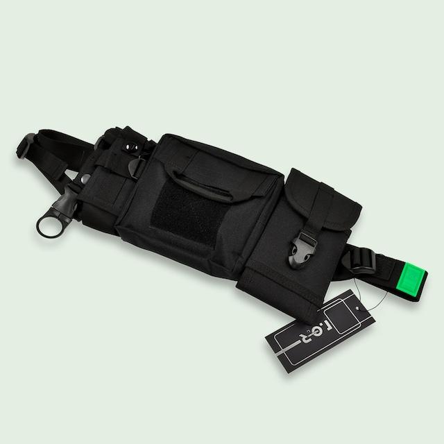 RUBBER LOGO WAIST BAG - BLACK/NEON GREEN