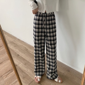 Handsome check straight pants(ハンサムチェックストレートパンツ)a-648