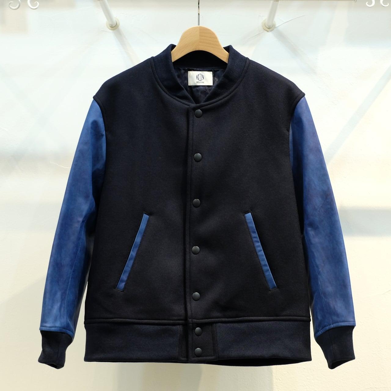 KUON(クオン) 袖レザー・メルトンブルゾン(スタジャン) 藍染・ネイビー