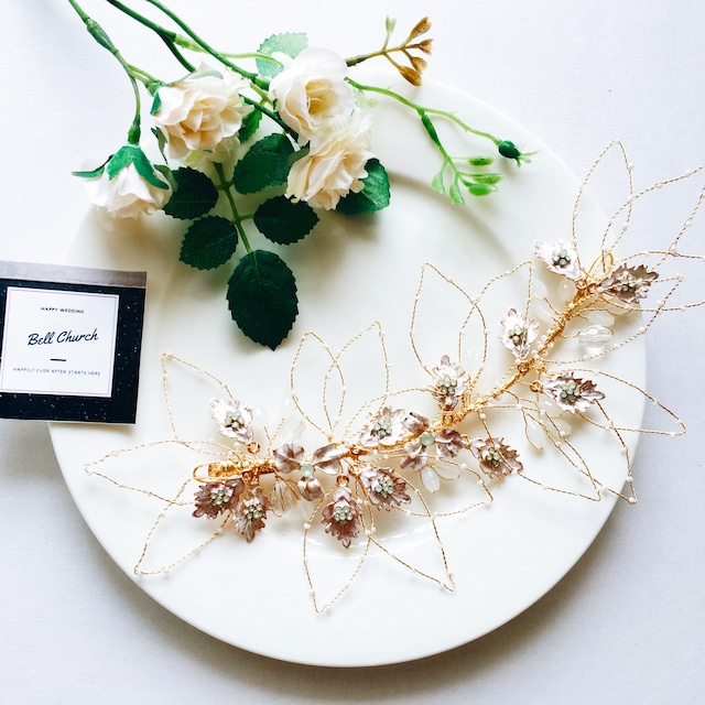 ヘッドドレス|リーフ(葉っぱ) モチーフ & フラワー(お花)|ゴールド (BC-H16)|ウェディングアクセサリー