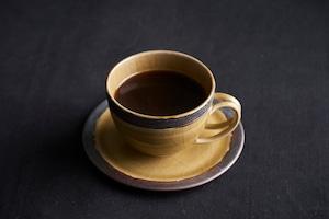 黒縁カップ&ソーサー(黄緑)