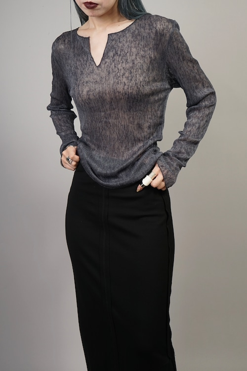 KEY NECK SEE-THROUGH TOPS (CHARCOAL) 2107-81-17