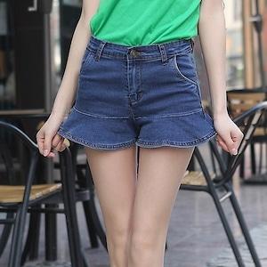 全4色裾フリルデニムショートパンツ