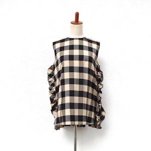 Pale Jute  Block check no-sleeve blouse