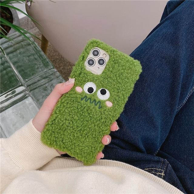 Green fur plush toy iphone case