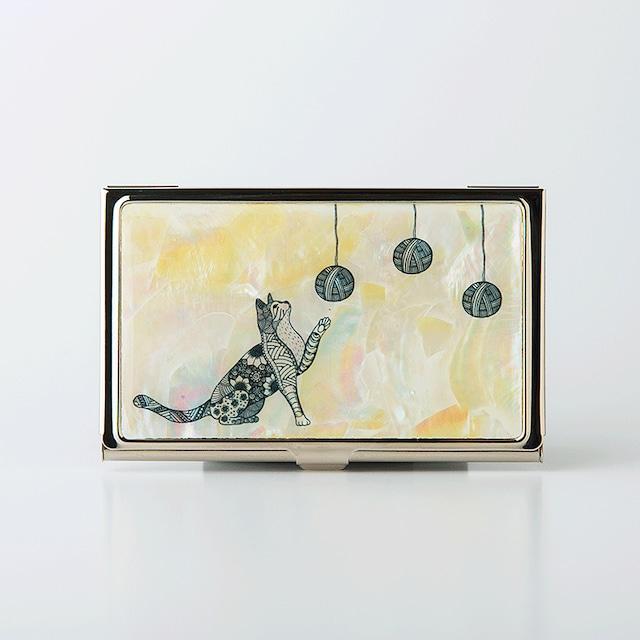 天然貝 名刺カードケース(じゃれにゃんこ)シェル・螺鈿アート