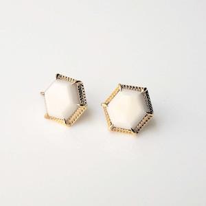 White Chalcedony Pierced Earrings (E209-WC Hexagon)