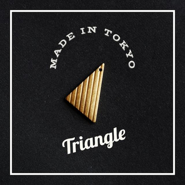 【2個】チャーム 三角形 【厚さ1.0ミリ】ストライプ模様(日本製、真鍮、無垢)