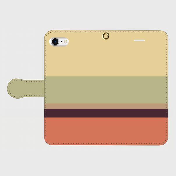 レトロストライプ(薄黄・薄緑・薄茶・紺・赤)/iPhoneスマホケース(手帳型ケース)