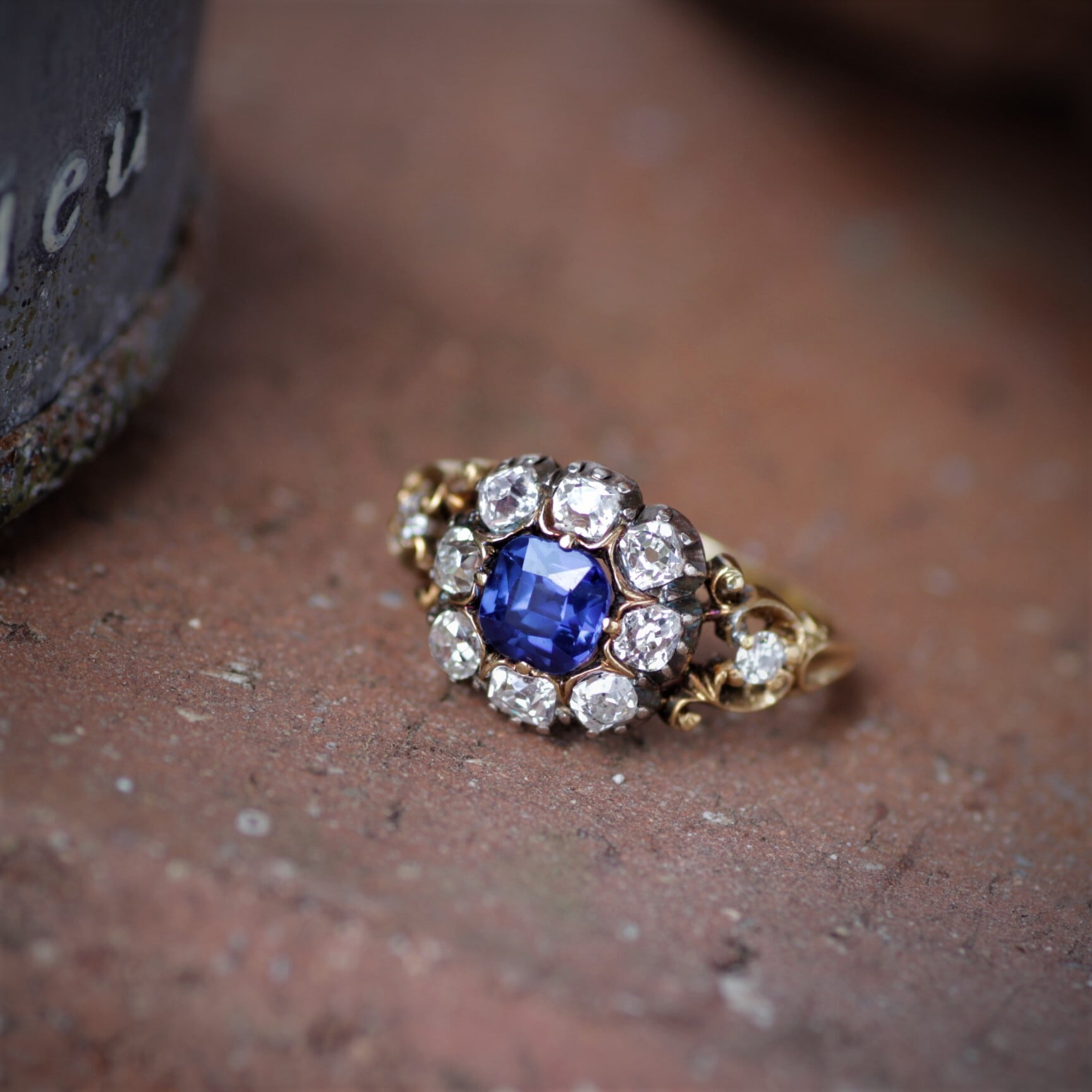 Late Georgian Sapphire & Diamond Ring ジョージアン サファイヤ&ダイヤモンド リング