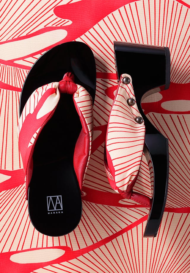 MANAKA ヒール下駄:波柄(GETA Kimono nami)6.5cmヒール
