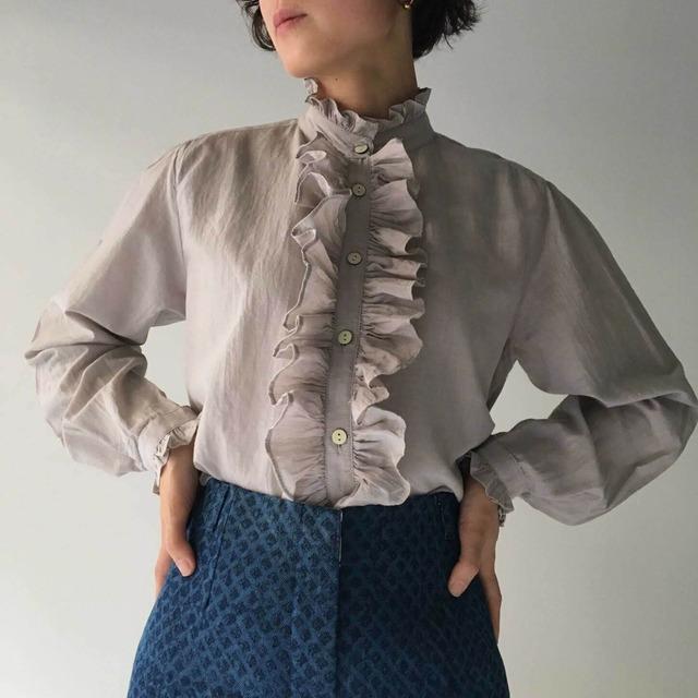 "Frill blouse ""gray purple"" organic cotton silk"