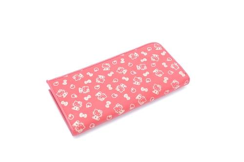【新作】キティ印傳 L型ファスナー長財布 赤/白 りんご柄