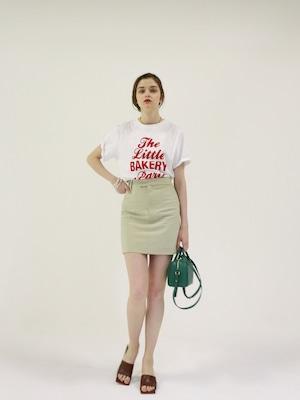 high-waist box skirt(beige green)