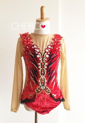 【130】赤ベロア×黒×ゴールド/3Dフラワーモチーフ/短めラップスカート